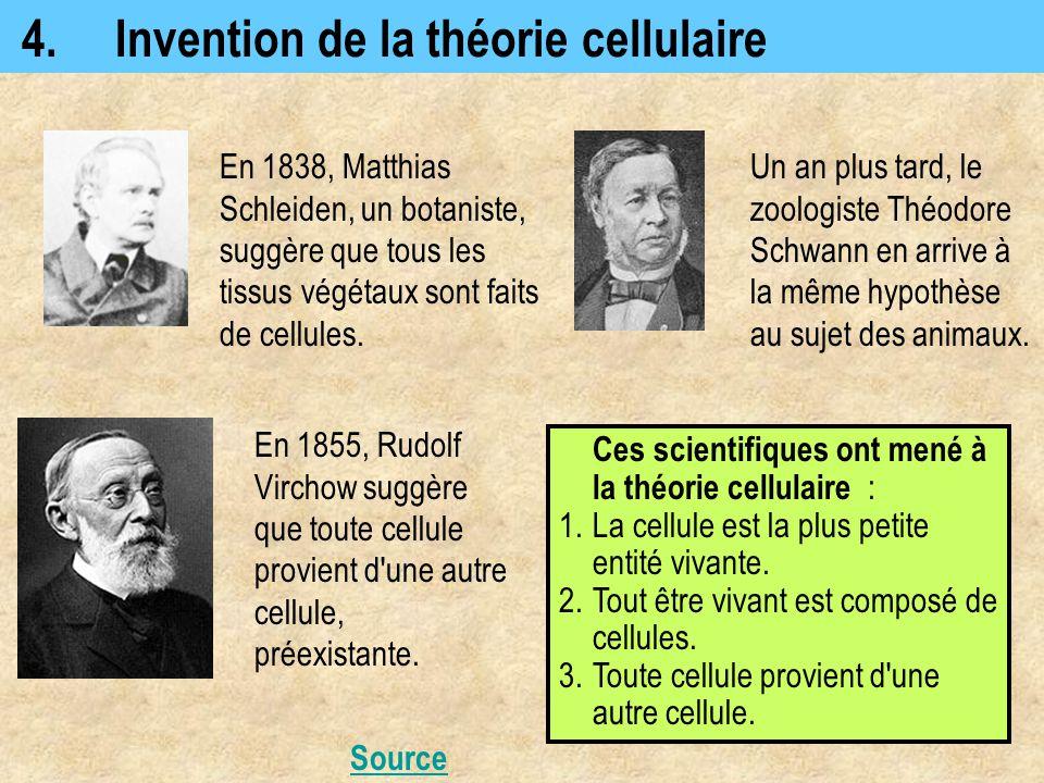 4.Invention de la théorie cellulaire Ces scientifiques ont mené à la théorie cellulaire : 1.La cellule est la plus petite entité vivante. 2.Tout être
