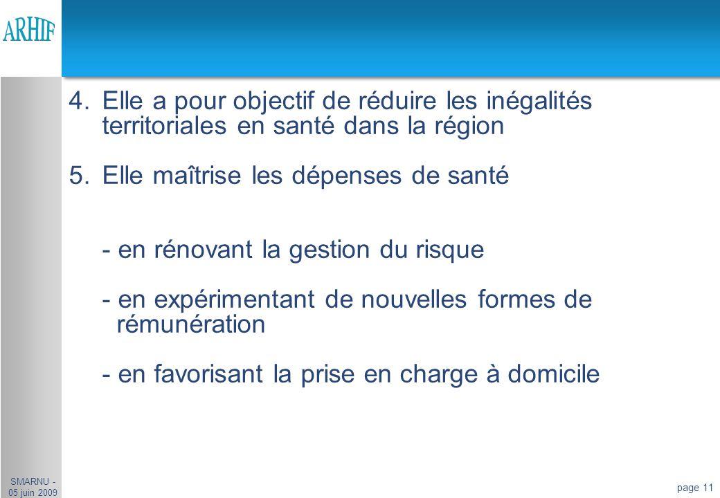 page 11 4.Elle a pour objectif de réduire les inégalités territoriales en santé dans la région 5.Elle maîtrise les dépenses de santé - en rénovant la