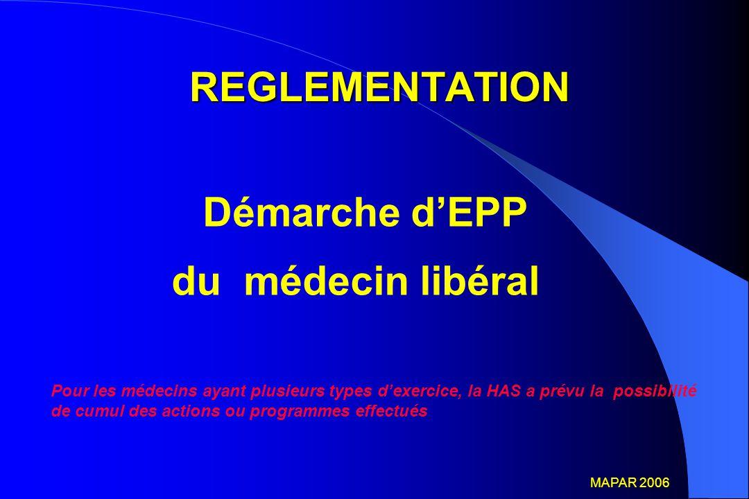 REGLEMENTATION REGLEMENTATION Démarche d'EPP du médecin libéral Pour les médecins ayant plusieurs types d'exercice, la HAS a prévu la possibilité de c
