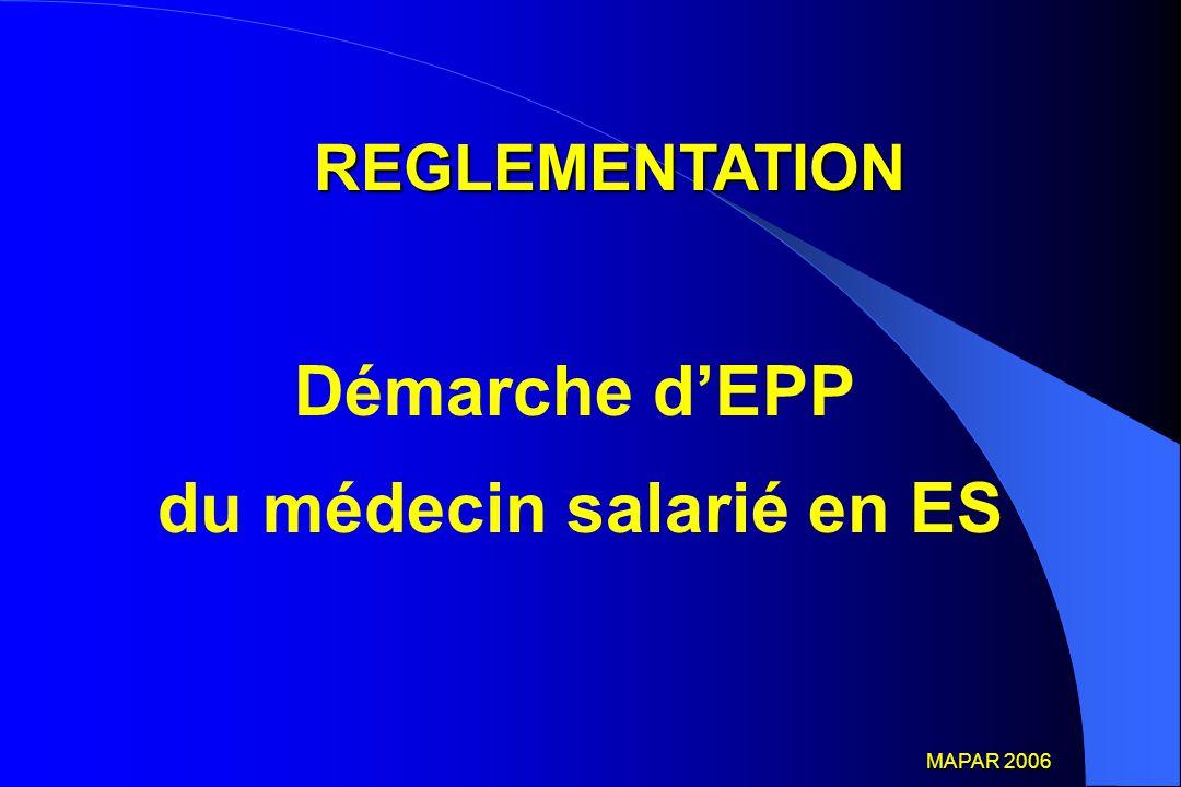 Démarche d'EPP du médecin salarié en ES REGLEMENTATION MAPAR 2006 MAPAR 2006