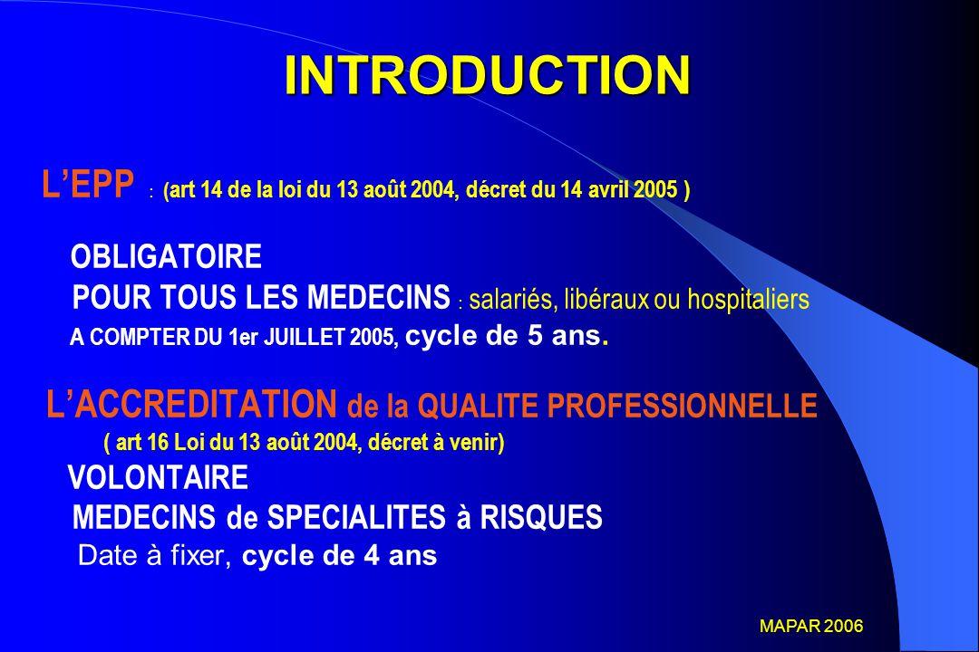 DEFINITION de l'EPP Il s agit de « l'analyse de la pratique professionnelle en référence à des recommandations et selon une méthode élaborée ou validée par la HAS et inclut la mise en œuvre et le suivi d'action d'amélioration des pratiques » Art 1 du Décret 2005-346 du 14 avril 2005 relatif à l'EPP En conséquence toute démarche respectant les termes de cette définition est une démarche d EPP MAPAR 2006 MAPAR 2006