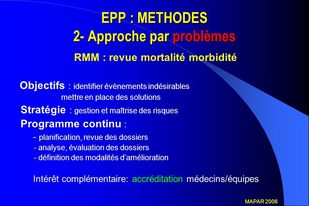EPP : METHODES 2- Approche par problèmes RMM : revue mortalité morbidité Objectifs : identifier évènements indésirables mettre en place des solutions