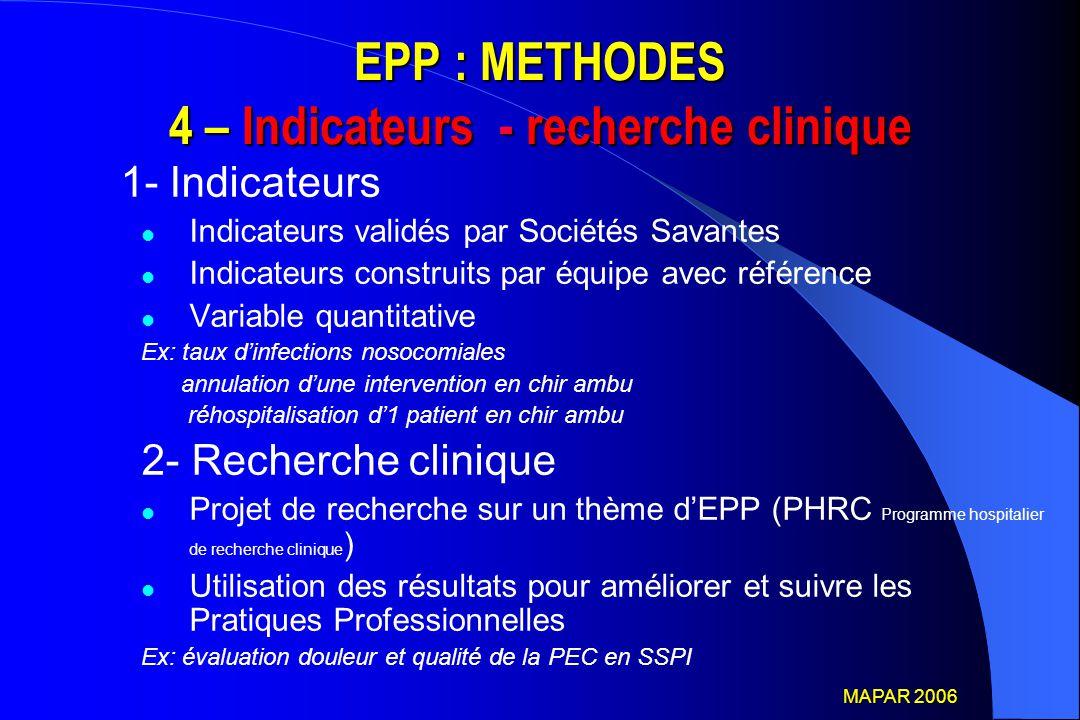 EPP : METHODES 4 – Indicateurs - recherche clinique 1- Indicateurs Indicateurs validés par Sociétés Savantes Indicateurs construits par équipe avec ré