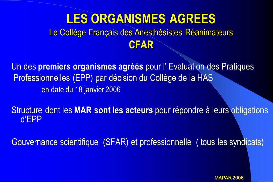 LES ORGANISMES AGREES Le Collège Français des Anesthésistes Réanimateurs CFAR Un des premiers organismes agréés pour l' Evaluation des Pratiques Profe