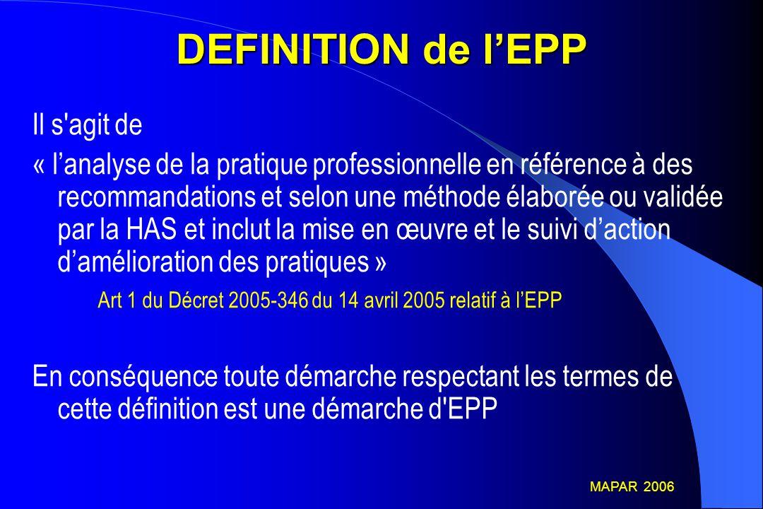 DEFINITION (2) On peut donc parler d'EPP chaque fois qu'il existe une analyse de la pratique professionnelle : - par rapport à des références professionnelles scientifiques validées (SFAR) - en utilisant une méthode validée par la HAS (basée sur une démarche d'ACQ) - dans le cadre d'une démarche structurée et explicite MAPAR 2006 MAPAR 2006