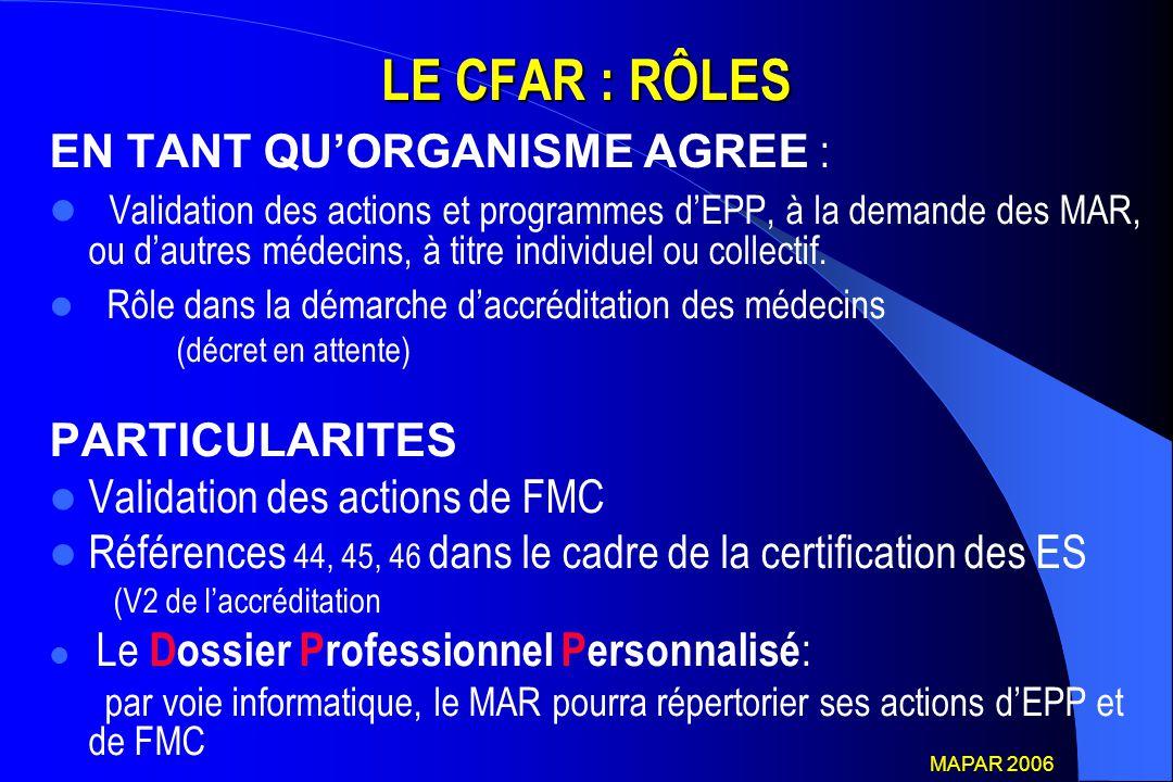 LE CFAR : RÔLES EN TANT QU'ORGANISME AGREE : Validation des actions et programmes d'EPP, à la demande des MAR, ou d'autres médecins, à titre individue
