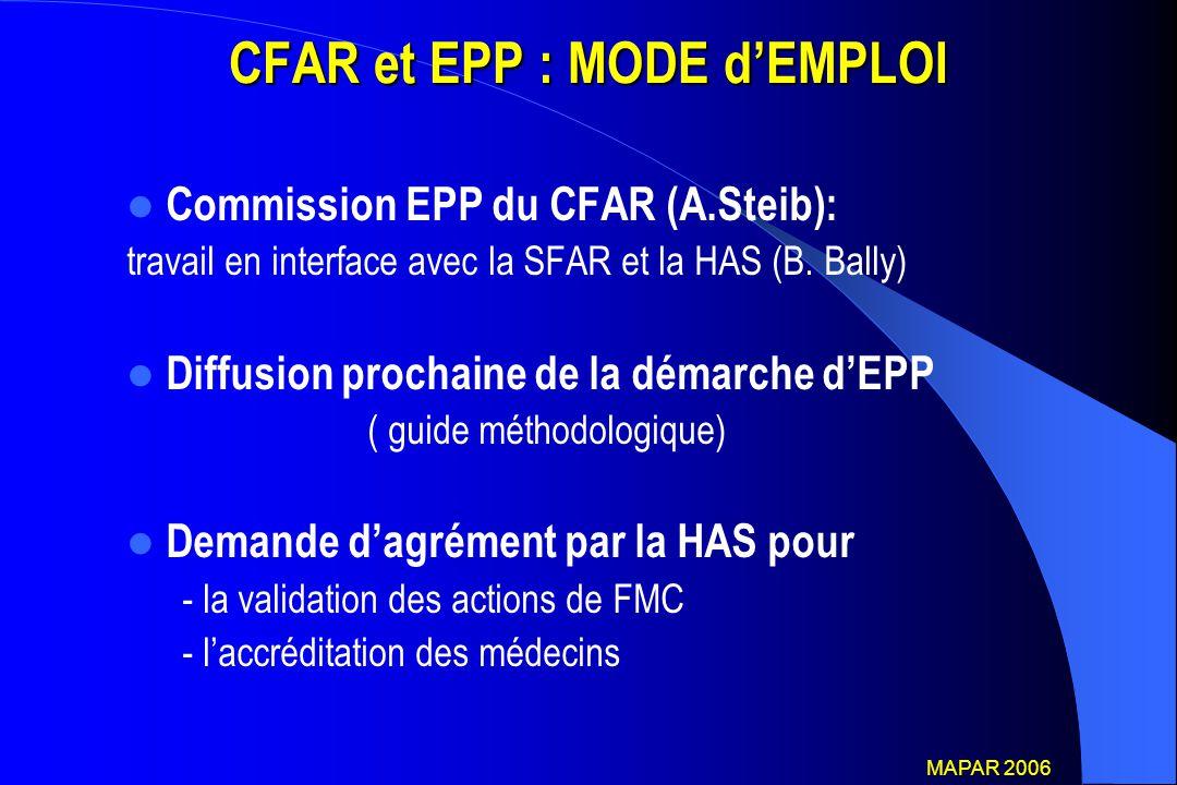 CFAR et EPP : MODE d'EMPLOI Commission EPP du CFAR (A.Steib): travail en interface avec la SFAR et la HAS (B. Bally) Diffusion prochaine de la démarch