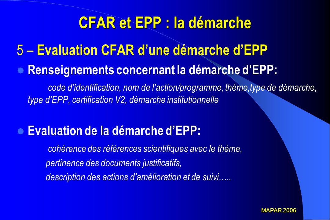 CFAR et EPP : la démarche 5 – Evaluation CFAR d'une démarche d'EPP Renseignements concernant la démarche d'EPP: code d'identification, nom de l'action
