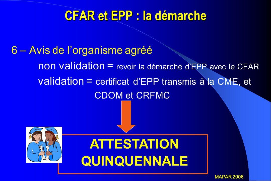 CFAR et EPP : la démarche 6 – Avis de l'organisme agréé non validation = revoir la démarche d'EPP avec le CFAR validation = certificat d'EPP transmis