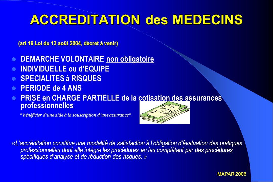 ACCREDITATION des MEDECINS (art 16 Loi du 13 août 2004, décret à venir) DEMARCHE VOLONTAIRE non obligatoire INDIVIDUELLE ou d'EQUIPE SPECIALITES à RIS