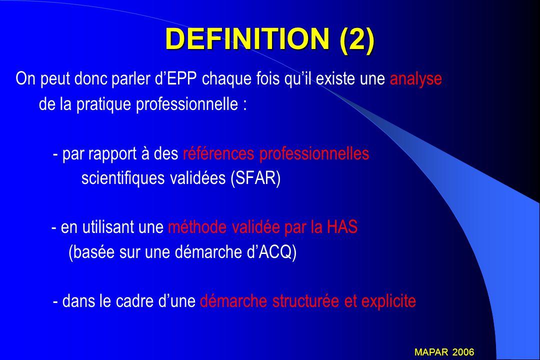 AUTRE POSSIBILITE DE DEMARCHE EPP : ROLE DE LA CME En cas d'EPP non conduite avec le concours d'un organisme agrée par l'HAS Délivrance du certificat d'EPP par la CME, après avis d'un Médecin Expert, agrée par la HAS Décret 15 mai 2006 MAPAR 2006