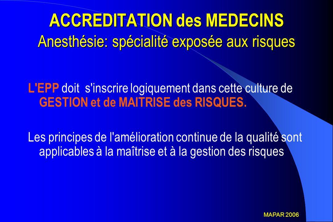 ACCREDITATION des MEDECINS Anesthésie: spécialité exposée aux risques L'EPP doit s'inscrire logiquement dans cette culture de GESTION et de MAITRISE d