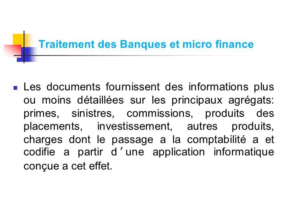Traitement des Banques et micro finance Les documents fournissent des informations plus ou moins détaillées sur les principaux agrégats: primes, sinis