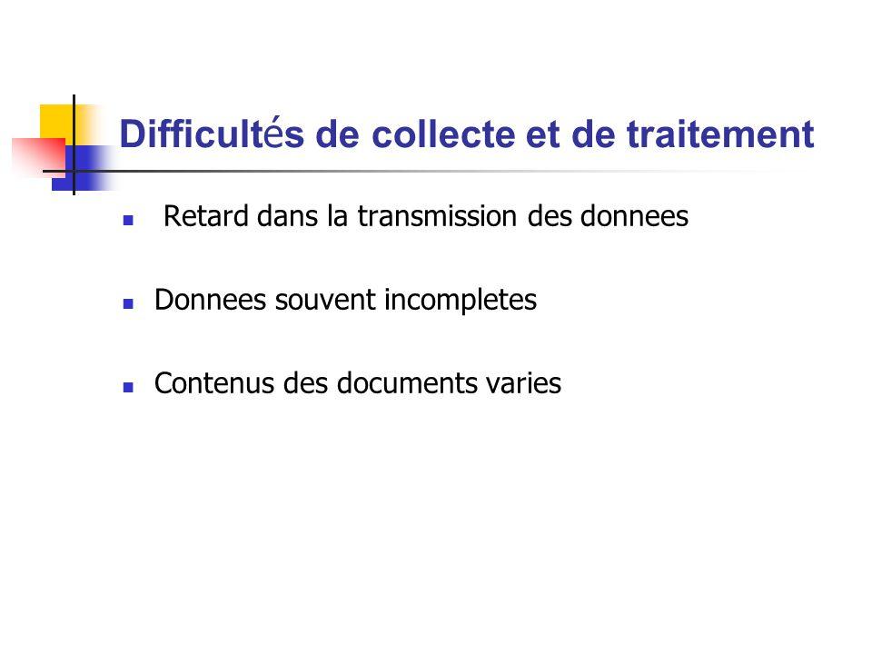 Difficult é s de collecte et de traitement Retard dans la transmission des donnees Donnees souvent incompletes Contenus des documents varies