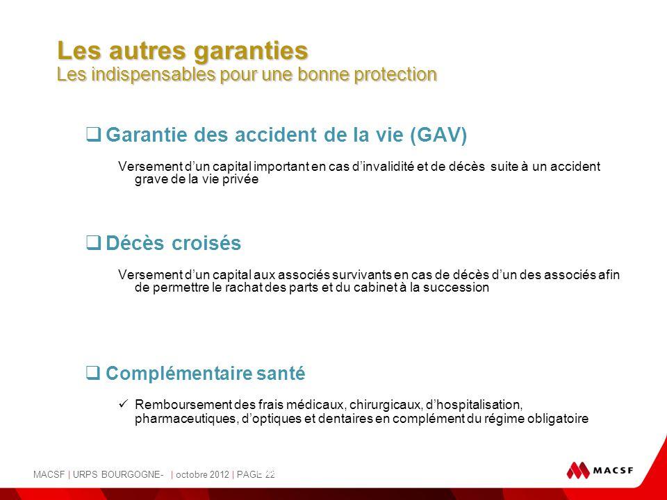 MACSF | URPS BOURGOGNE- | octobre 2012 | PAGE 22 - Pascale Osvald-Soulé, Juriste -  Garantie des accident de la vie (GAV) Versement d'un capital impo