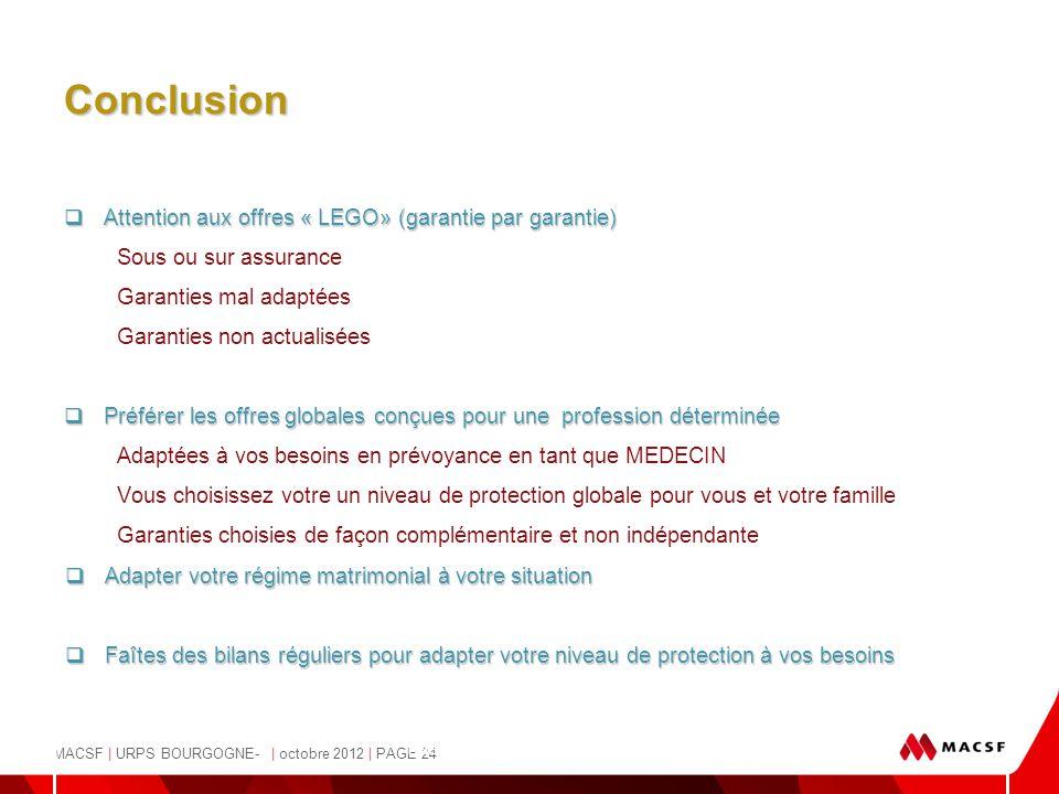 MACSF | URPS BOURGOGNE- | octobre 2012 | PAGE 24 - Pascale Osvald-Soulé, Juriste - Conclusion  Attention aux offres « LEGO» (garantie par garantie) S