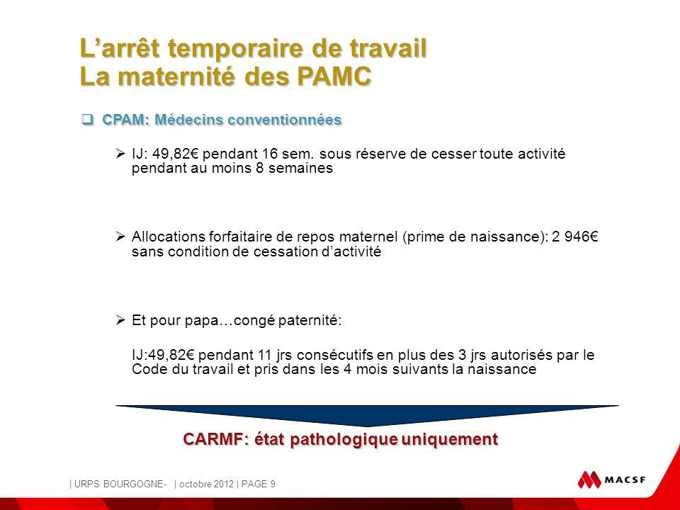 MACSF | URPS BOURGOGNE- | octobre 2012 | PAGE 9  CPAM: Médecins conventionnées  IJ: 49,82€ pendant 16 sem. sous réserve de cesser toute activité pen