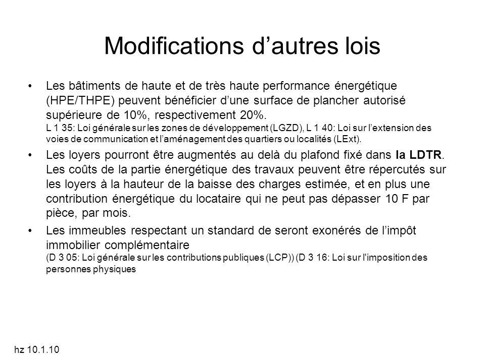 Modifications d'autres lois Les bâtiments de haute et de très haute performance énergétique (HPE/THPE) peuvent bénéficier d'une surface de plancher autorisé supérieure de 10%, respectivement 20%.