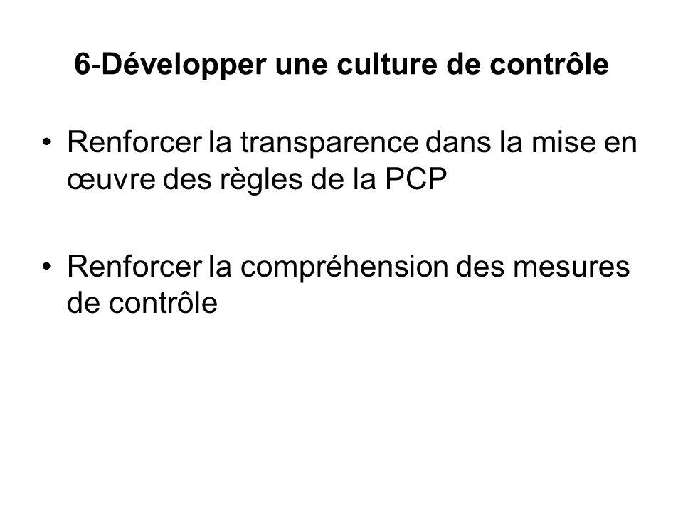 6-Développer une culture de contrôle Renforcer la transparence dans la mise en œuvre des règles de la PCP Renforcer la compréhension des mesures de contrôle