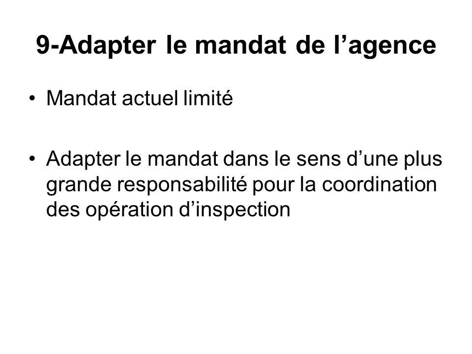 9-Adapter le mandat de l'agence Mandat actuel limité Adapter le mandat dans le sens d'une plus grande responsabilité pour la coordination des opération d'inspection