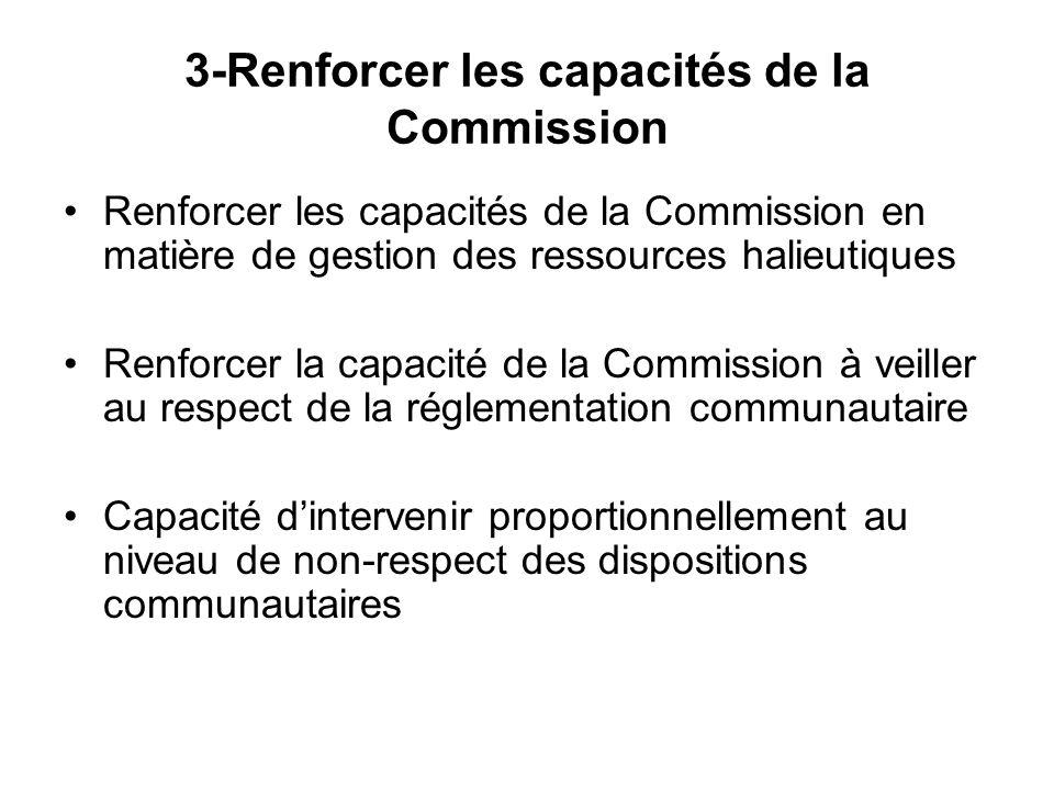 3-Renforcer les capacités de la Commission Renforcer les capacités de la Commission en matière de gestion des ressources halieutiques Renforcer la capacité de la Commission à veiller au respect de la réglementation communautaire Capacité d'intervenir proportionnellement au niveau de non-respect des dispositions communautaires
