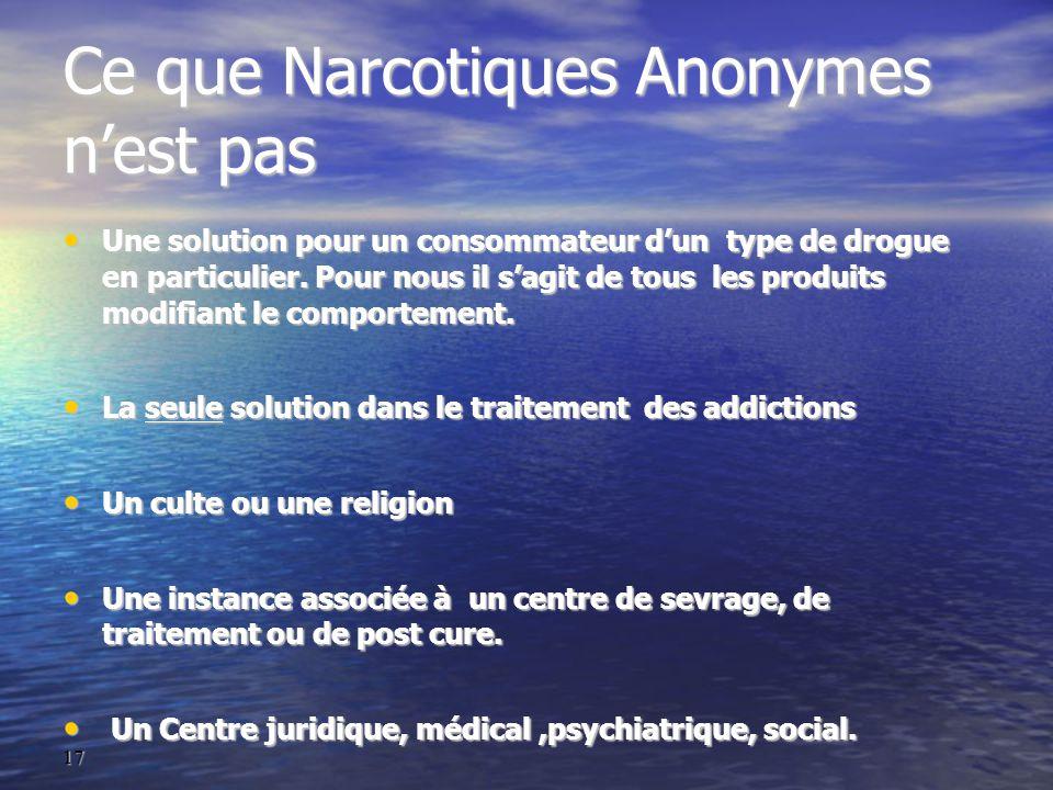 17 Ce que Narcotiques Anonymes n'est pas Une solution pour un consommateur d'un type de drogue en particulier.