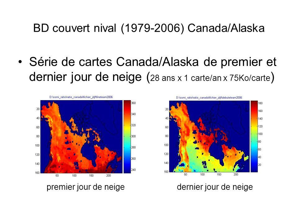 BD couvert nival (1979-2006) Canada/Alaska Série de cartes Canada/Alaska de premier et dernier jour de neige ( 28 ans x 1 carte/an x 75Ko/carte ) premier jour de neigedernier jour de neige