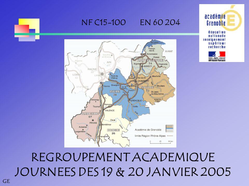 GE REGROUPEMENT ACADEMIQUE JOURNEES DES 19 & 20 JANVIER 2005 NF C15-100 EN 60 204
