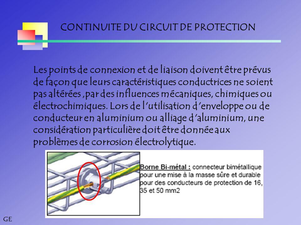GE CONTINUITE DU CIRCUIT DE PROTECTION Les points de connexion et de liaison doivent être prévus de façon que leurs caractéristiques conductrices ne soient pas altérées,par des influences mécaniques, chimiques ou électrochimiques.