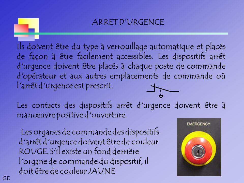 GE ARRET D'URGENCE Ils doivent être du type à verrouillage automatique et placés de façon à être facilement accessibles.