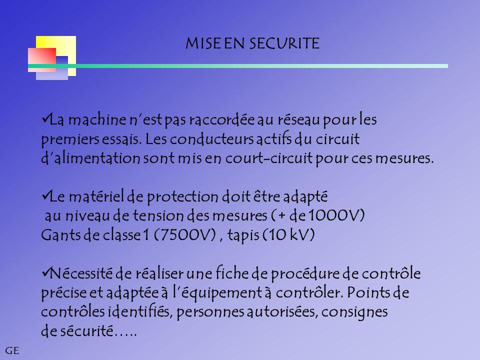 GE MISE EN SECURITE La machine n'est pas raccordée au réseau pour les premiers essais.