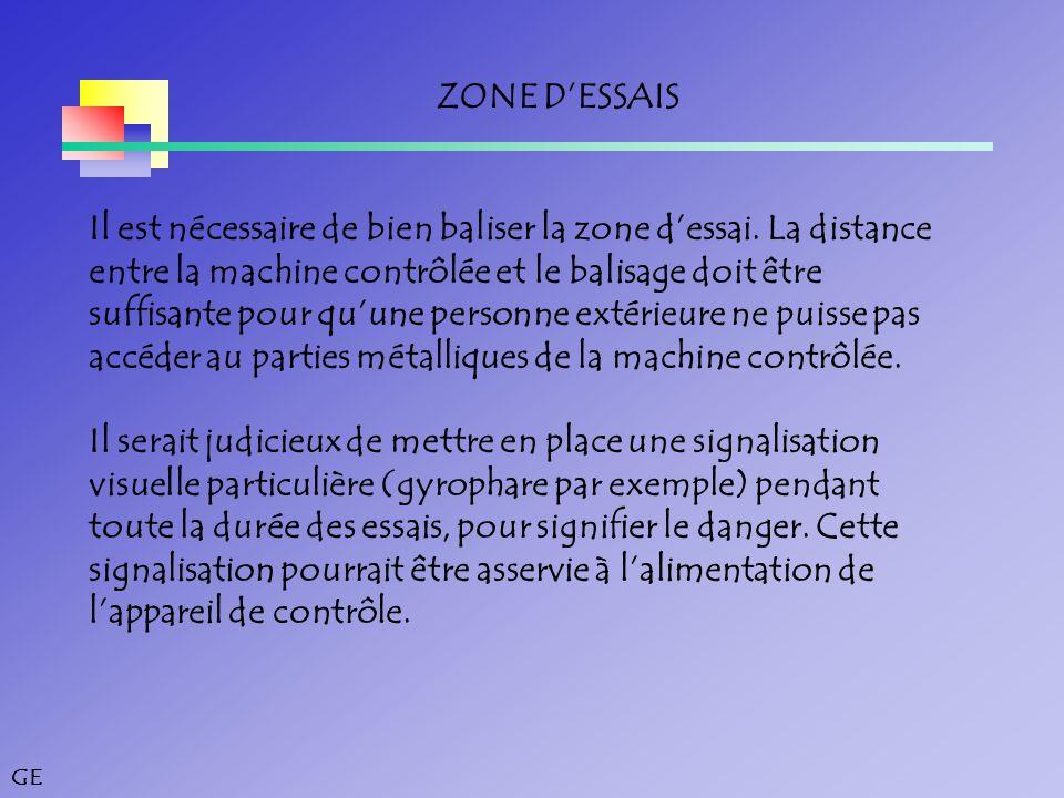 GE ZONE D'ESSAIS Il est nécessaire de bien baliser la zone d'essai.