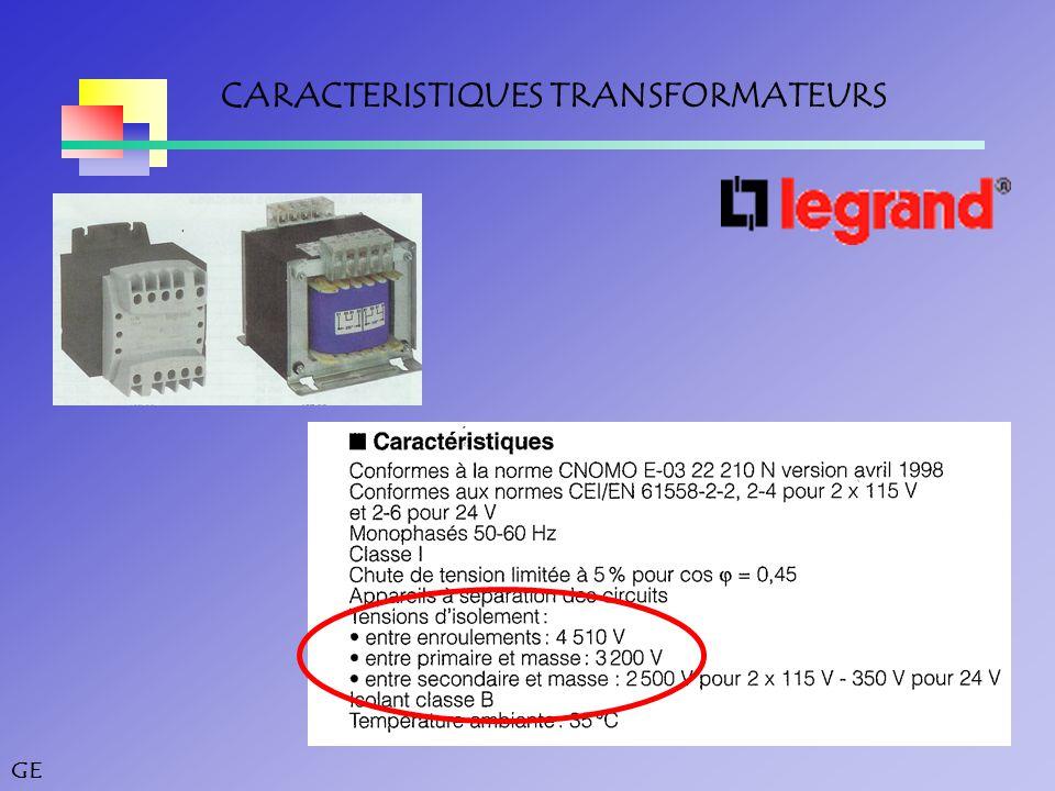 GE CARACTERISTIQUES TRANSFORMATEURS