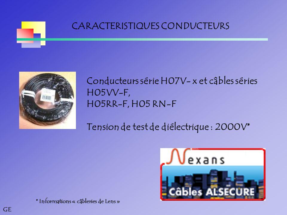 GE CARACTERISTIQUES CONDUCTEURS * Informations « câbleries de Lens » Conducteurs série H07V- x et câbles séries H05VV-F, H05RR-F, H05 RN-F Tension de test de diélectrique : 2000V*