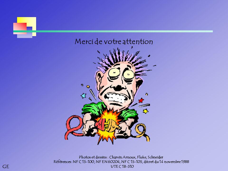 GE Merci de votre attention Photos et dessins : Charvin Arnoux, Fluke, Schneider Références: NF C 15-100, NF EN 60204, NF C 15-105, décret du 14 novembre 1988 UTE C 18-510