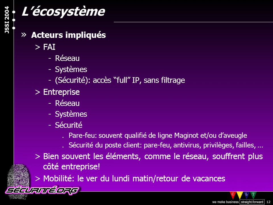 """© 2003 Nicolas FISCHBACH JSSI 2004 12 L'écosystème » Acteurs impliqués >FAI -Réseau -Systèmes -(Sécurité): accès """"full"""" IP, sans filtrage >Entreprise"""