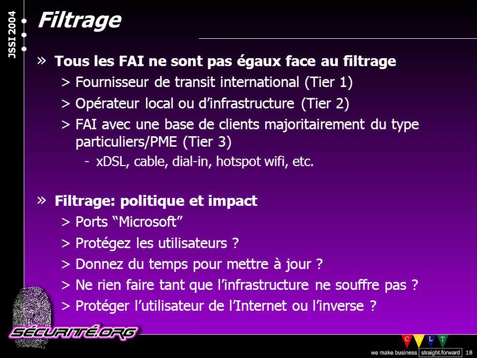 © 2003 Nicolas FISCHBACH JSSI 2004 18 Filtrage » Tous les FAI ne sont pas égaux face au filtrage >Fournisseur de transit international (Tier 1) >Opéra