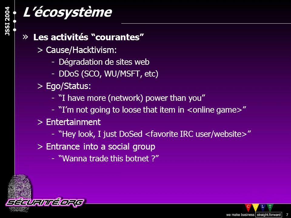 © 2003 Nicolas FISCHBACH JSSI 2004 8 L'écosystème » Les activités courantes >[Virtual] Money: -Routeurs BGP -SPAM, botnets, relais ouverts, etc.