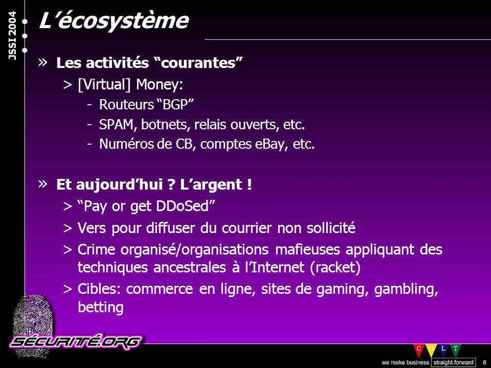 """© 2003 Nicolas FISCHBACH JSSI 2004 8 L'écosystème » Les activités """"courantes"""" >[Virtual] Money: -Routeurs """"BGP"""" -SPAM, botnets, relais ouverts, etc. -"""