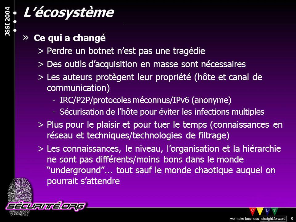 © 2003 Nicolas FISCHBACH JSSI 2004 9 L'écosystème » Ce qui a changé >Perdre un botnet n'est pas une tragédie >Des outils d'acquisition en masse sont n