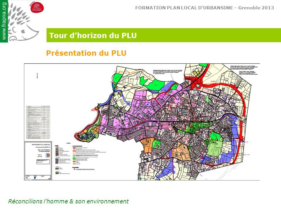 FORMATION PLAN LOCAL D'URBANSIME – Grenoble 2013 Réconcilions l'homme & son environnement Tour d'horizon du PLU Présentation du PLU