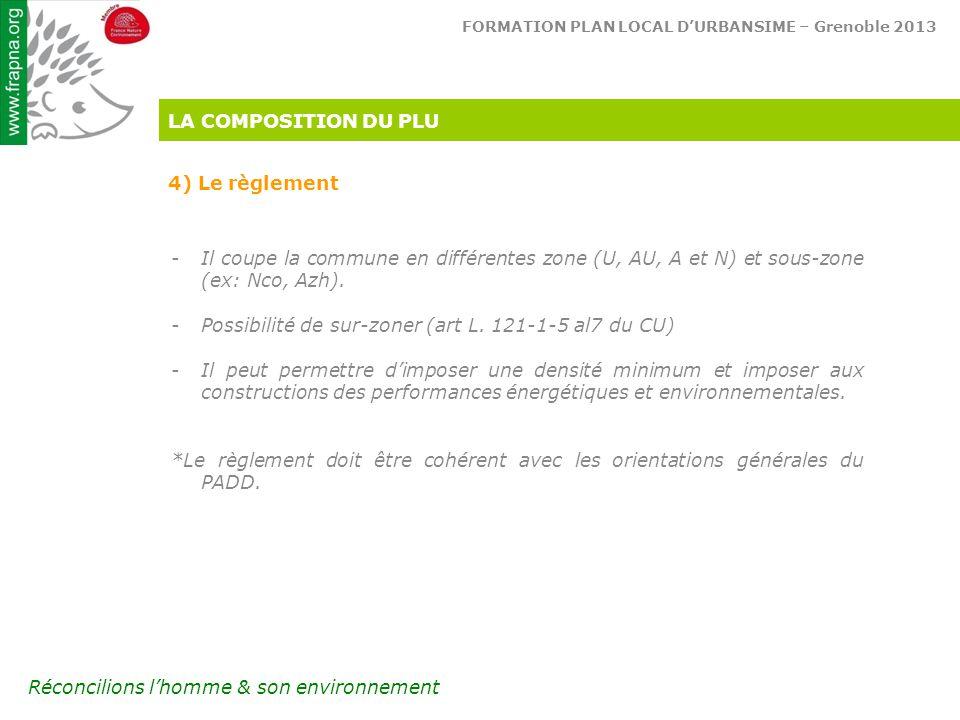 FORMATION PLAN LOCAL D'URBANSIME – Grenoble 2013 Réconcilions l'homme & son environnement LA COMPOSITION DU PLU 4) Le règlement -Il coupe la commune en différentes zone (U, AU, A et N) et sous-zone (ex: Nco, Azh).