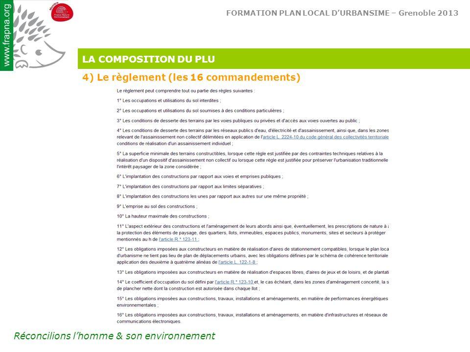FORMATION PLAN LOCAL D'URBANSIME – Grenoble 2013 Réconcilions l'homme & son environnement LA COMPOSITION DU PLU 4) Le règlement (les 16 commandements)