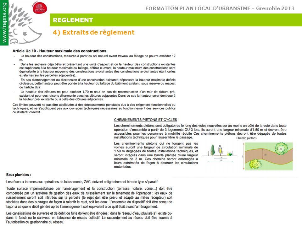 FORMATION PLAN LOCAL D'URBANSIME – Grenoble 2013 Réconcilions l'homme & son environnement REGLEMENT 4) Extraits de règlement