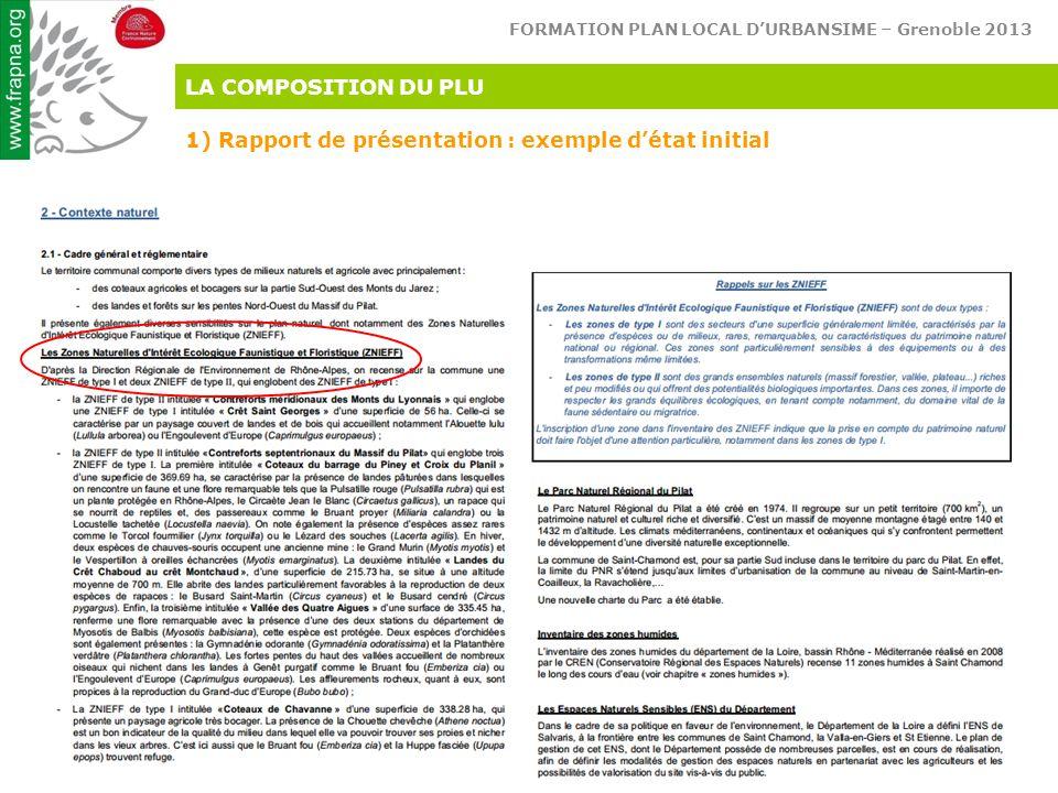 FORMATION PLAN LOCAL D'URBANSIME – Grenoble 2013 Réconcilions l'homme & son environnement LA COMPOSITION DU PLU 1) Rapport de présentation : exemple d'état initial
