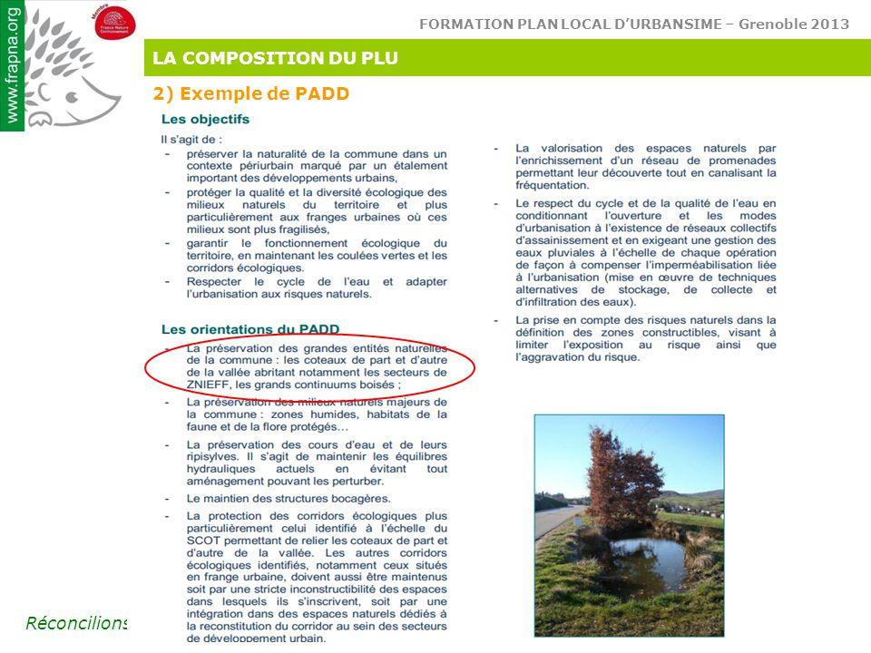 FORMATION PLAN LOCAL D'URBANSIME – Grenoble 2013 Réconcilions l'homme & son environnement LA COMPOSITION DU PLU 2) Exemple de PADD