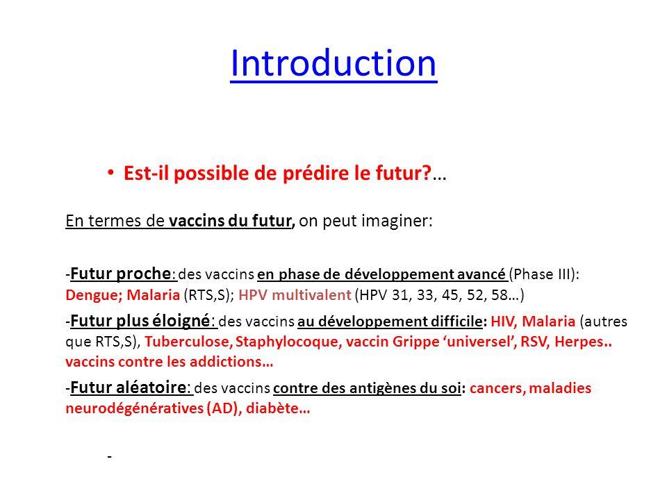 Introduction Est-il possible de prédire le futur?… En termes de vaccins du futur, on peut imaginer: - Futur proche : des vaccins en phase de développe