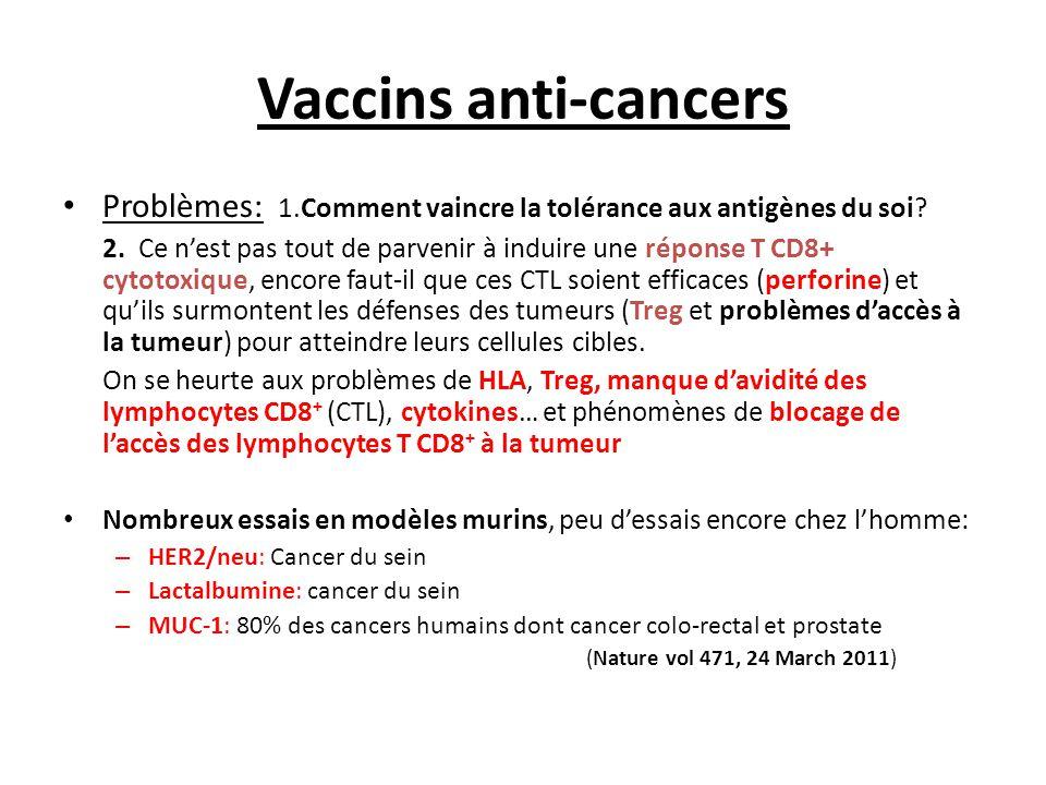 Vaccins anti-cancers Problèmes: 1.Comment vaincre la tolérance aux antigènes du soi? 2. Ce n'est pas tout de parvenir à induire une réponse T CD8+ cyt