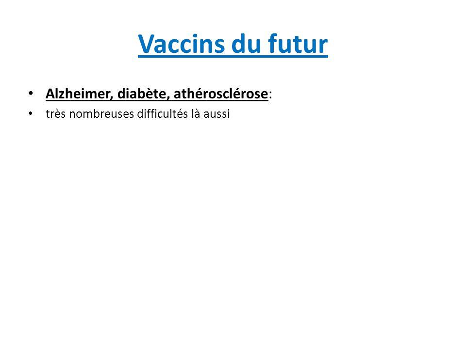 Vaccins du futur Alzheimer, diabète, athérosclérose: très nombreuses difficultés là aussi