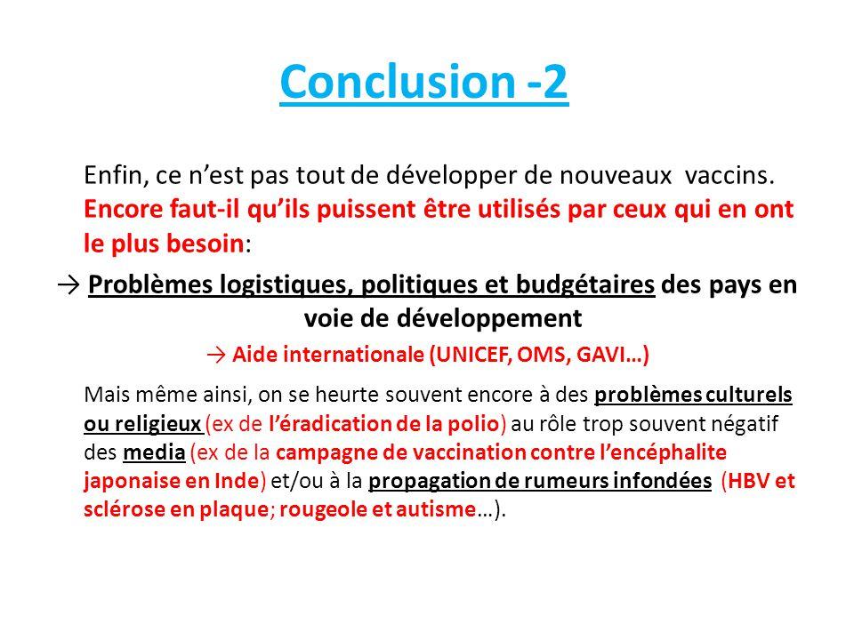 Conclusion -2 Enfin, ce n'est pas tout de développer de nouveaux vaccins. Encore faut-il qu'ils puissent être utilisés par ceux qui en ont le plus bes